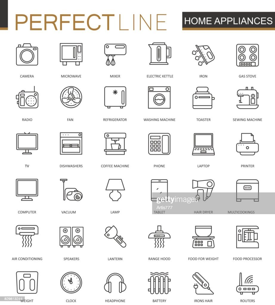 Household appliances thin line web icons set. Outline stroke icons design.