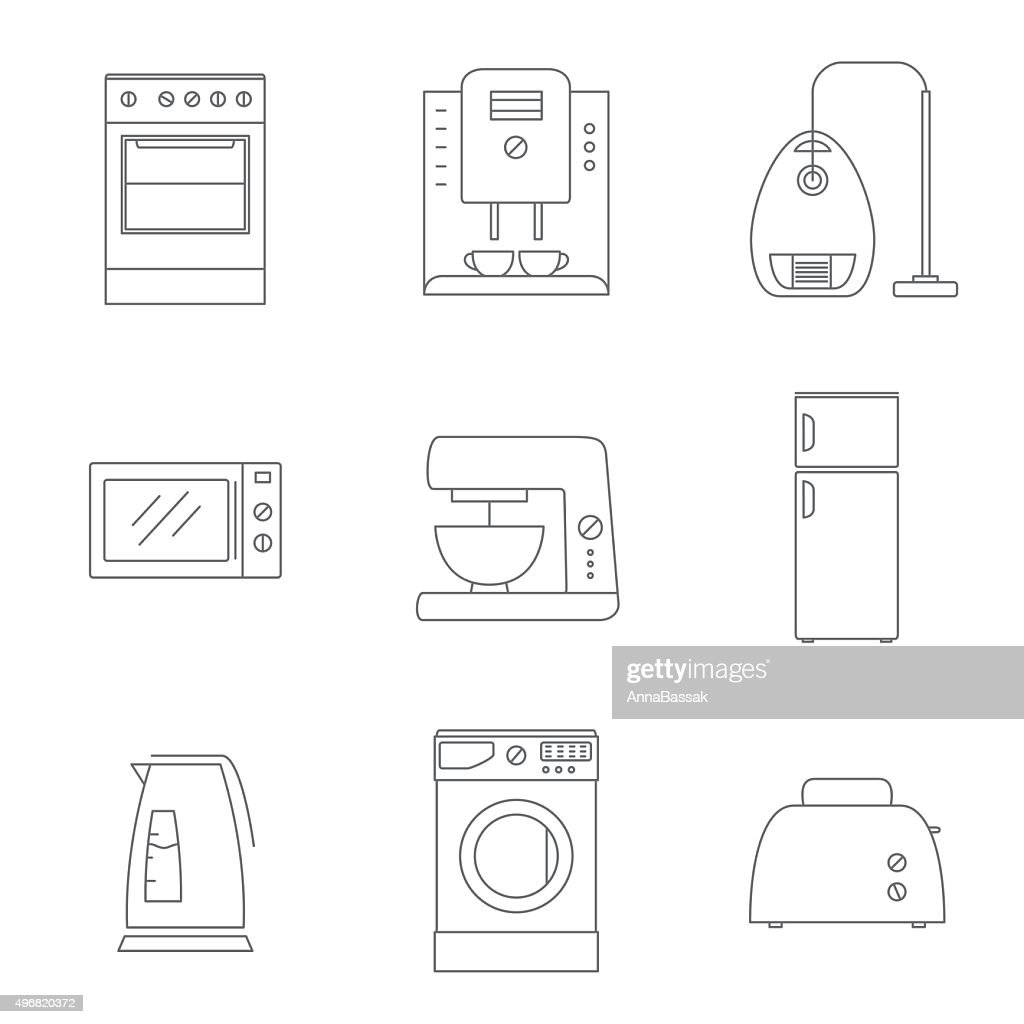 household appliances vector thin line icons set