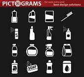household chemicals icon set