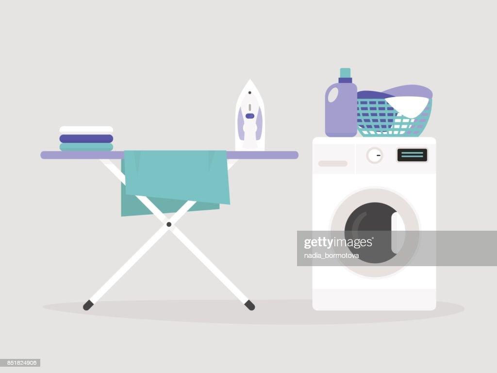 Hausarbeit Bügelbrett Und Eine Waschmaschine Flach Bearbeitbares