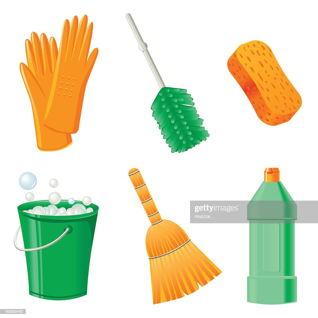 Household cleaning objects icons