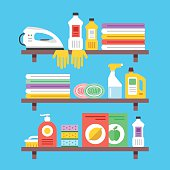Household cleaning products, chemicals, supplies on shelves. Flat vector illustration