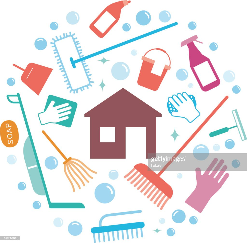 household cleaning supplies icon set along the house : stock illustration