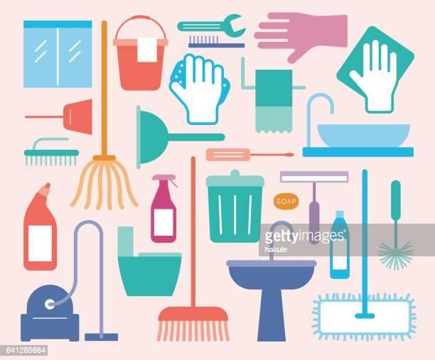 conjunto de iconos de suministros de limpieza para el hogar