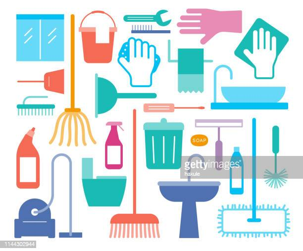 household cleaning supplies icon set, vector illustration - housework stock illustrations