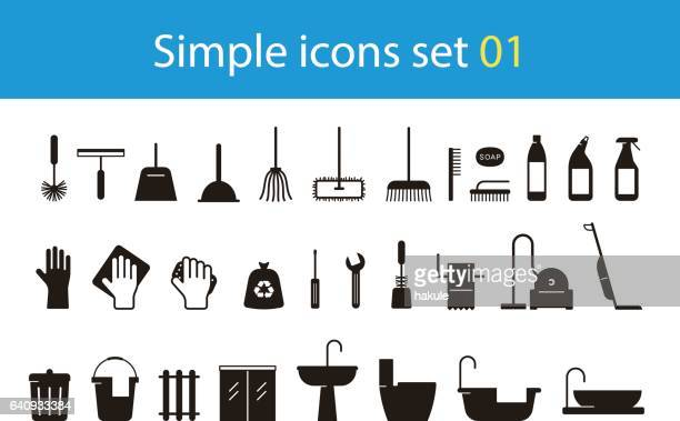 household cleaning supplies icon set, vector illustration - broom stock illustrations, clip art, cartoons, & icons