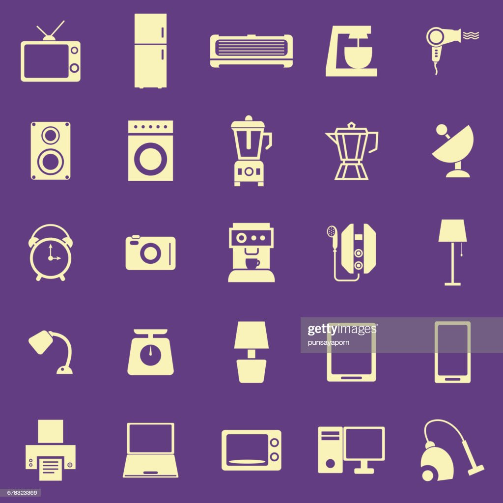 Household color icons on purple background