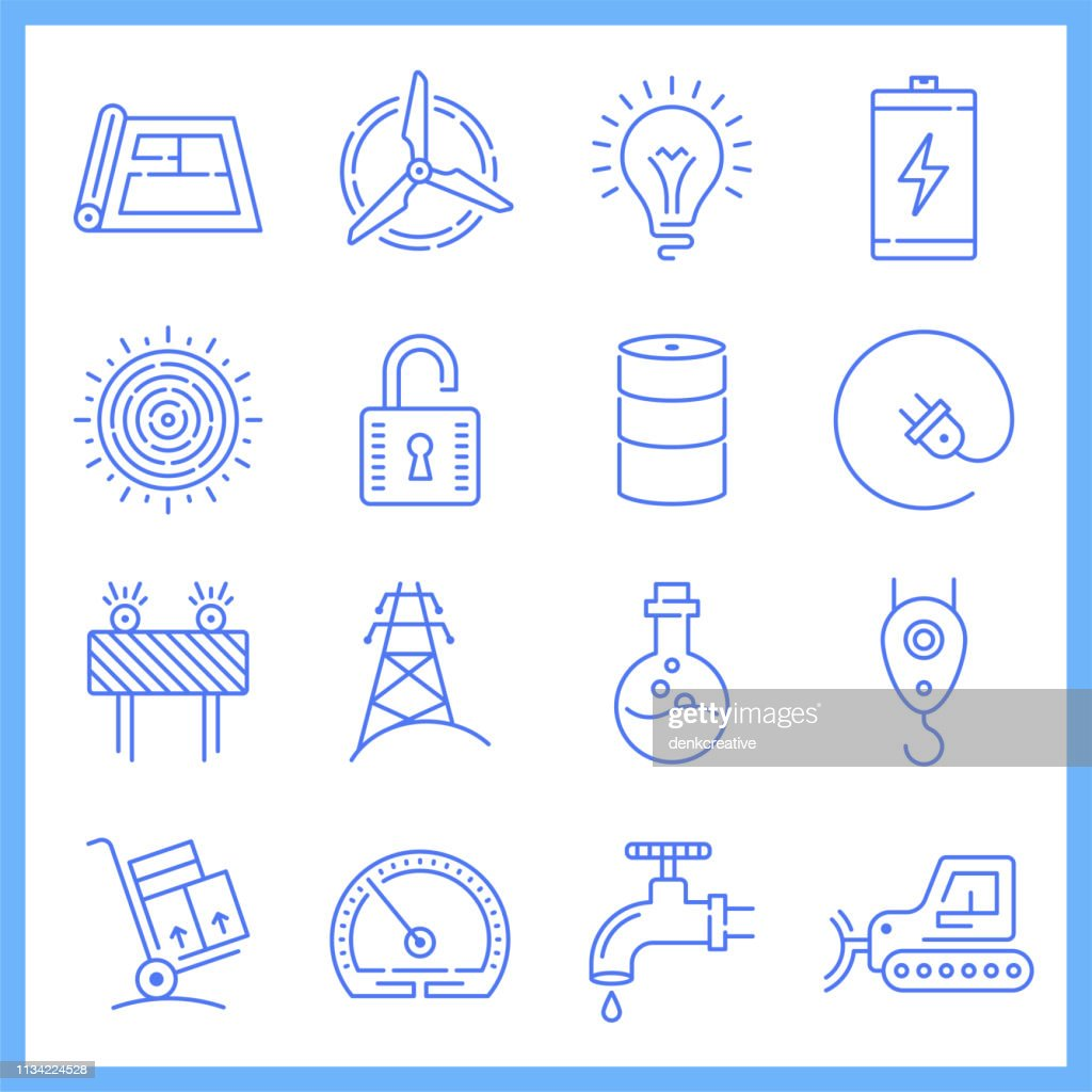 Household Electricity Demand Blueprint Style Vector Icon Set : stock illustration