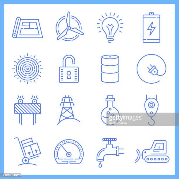 household electricity demand blueprint style vector icon set - letrac stock illustrations