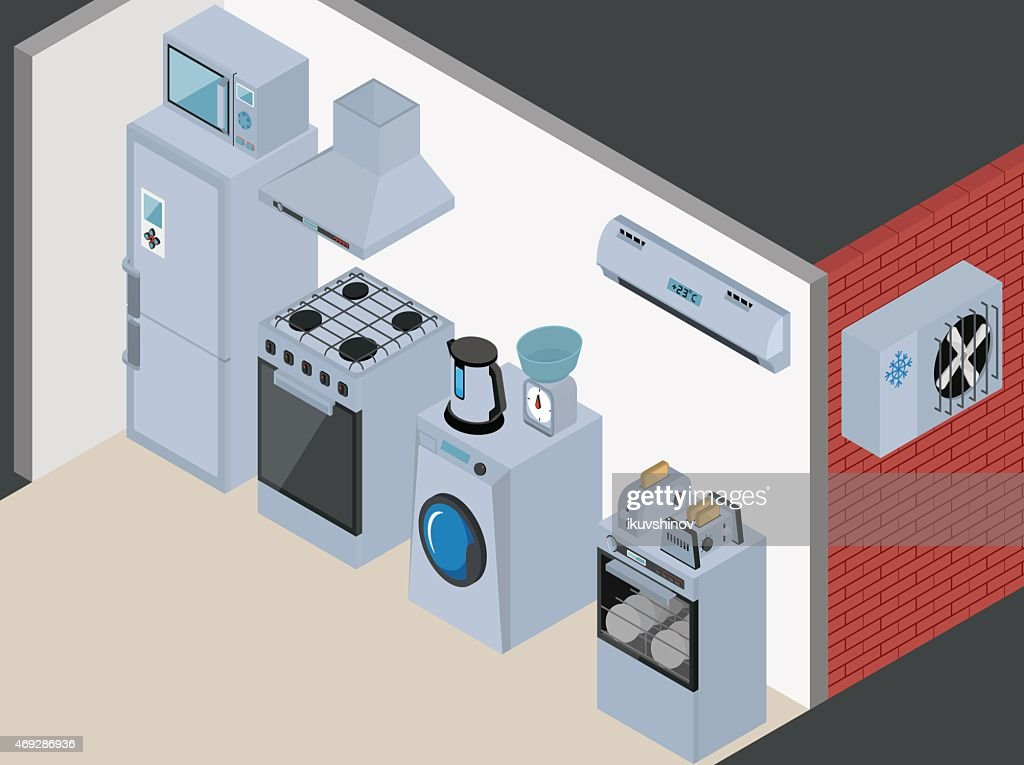 Household Icons appliances. Isometric Kitchen Appliances. Major household appliance Icon