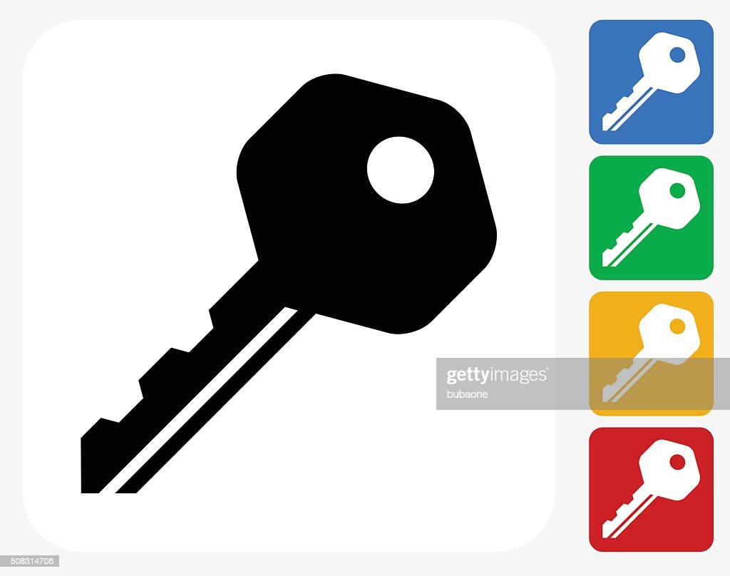 Household Key Icon Flat Graphic Design
