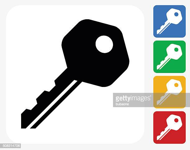 household key icon flat graphic design - key stock illustrations