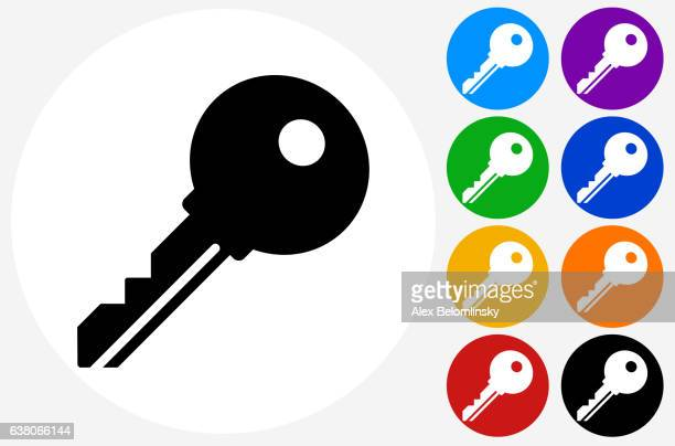 stockillustraties, clipart, cartoons en iconen met household key icon on flat color circle buttons - locksmith