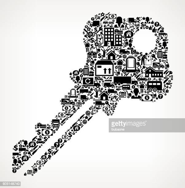 Household Key Moving and Relocation Icon Pattern