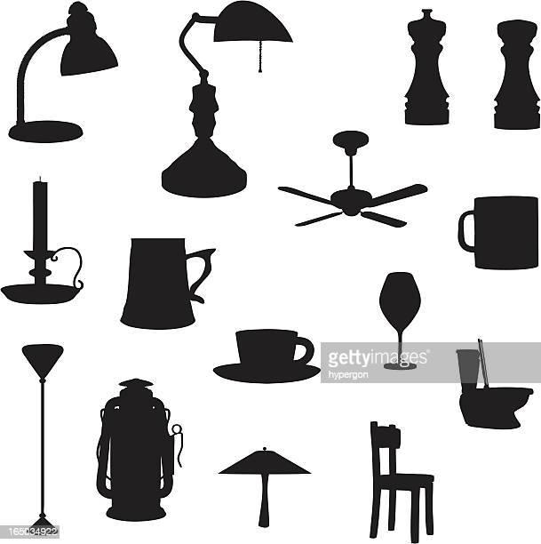 bildbanksillustrationer, clip art samt tecknat material och ikoner med household silhouette collection (vector+jpg) - peppar