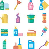 Household tools for cleaning and washing icon set