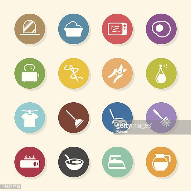 housekeeping icons - color circle series - toilet brush stock illustrations, clip art, cartoons, & icons