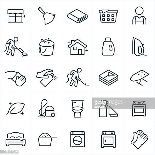 housekeeping icons - housework stock illustrations