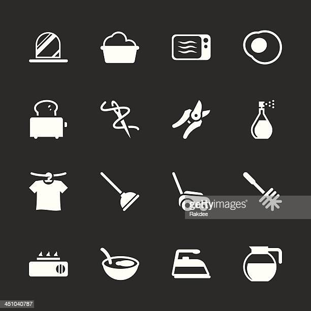 housekeeping icons - white series | eps10 - toilet brush stock illustrations, clip art, cartoons, & icons