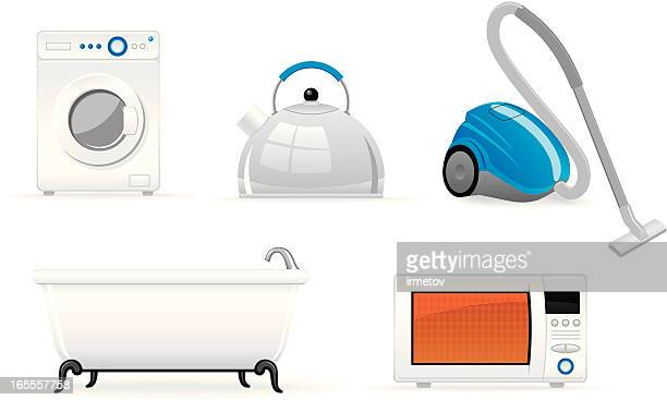 housekeeping objects - vacuum cleaner stock illustrations, clip art, cartoons, & icons