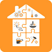 house-puzzles with repair tools flat design on yellow background
