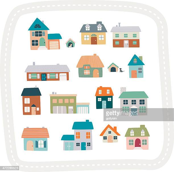 houses and dogs - bungalow stock illustrations, clip art, cartoons, & icons