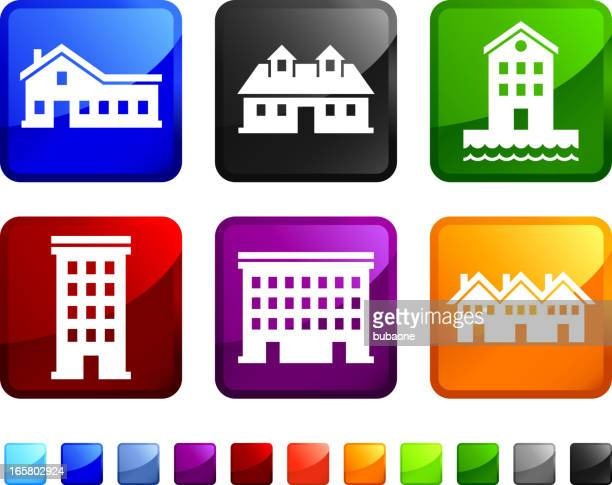 houses and homes royalty free vector icon set stickers - country club stock illustrations, clip art, cartoons, & icons