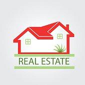 Houses apartments green garden real estate card