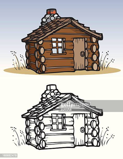 houses - cabin - prairie stock illustrations, clip art, cartoons, & icons