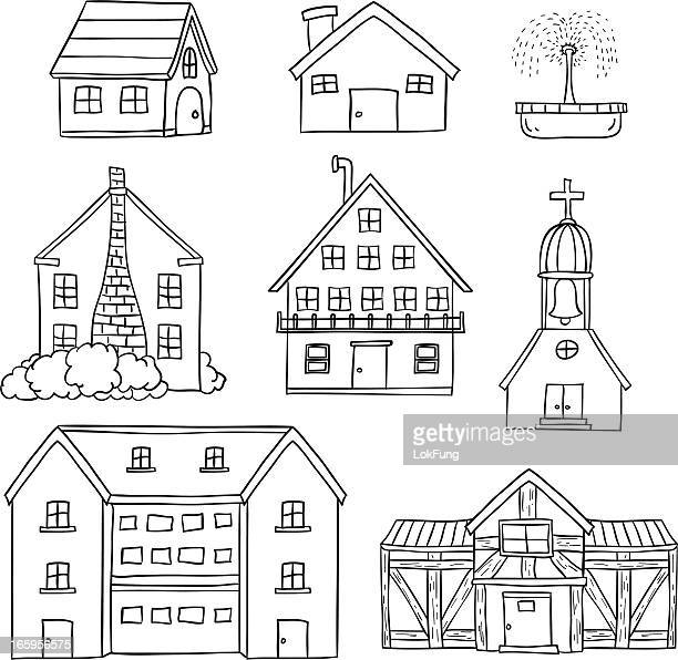 Houses collection in black and white