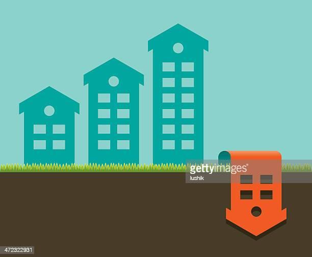stockillustraties, clipart, cartoons en iconen met houses depicting bar graph showing the drop in real estate - afdalen