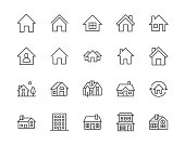 Houses flat line icons set. Home page button, residential building, country cottage, apartment vector illustrations. Outline simple signs for real estate. Pixel perfect 64x64. Editable Strokes