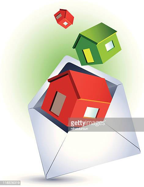 Houses flying out from an open envelope