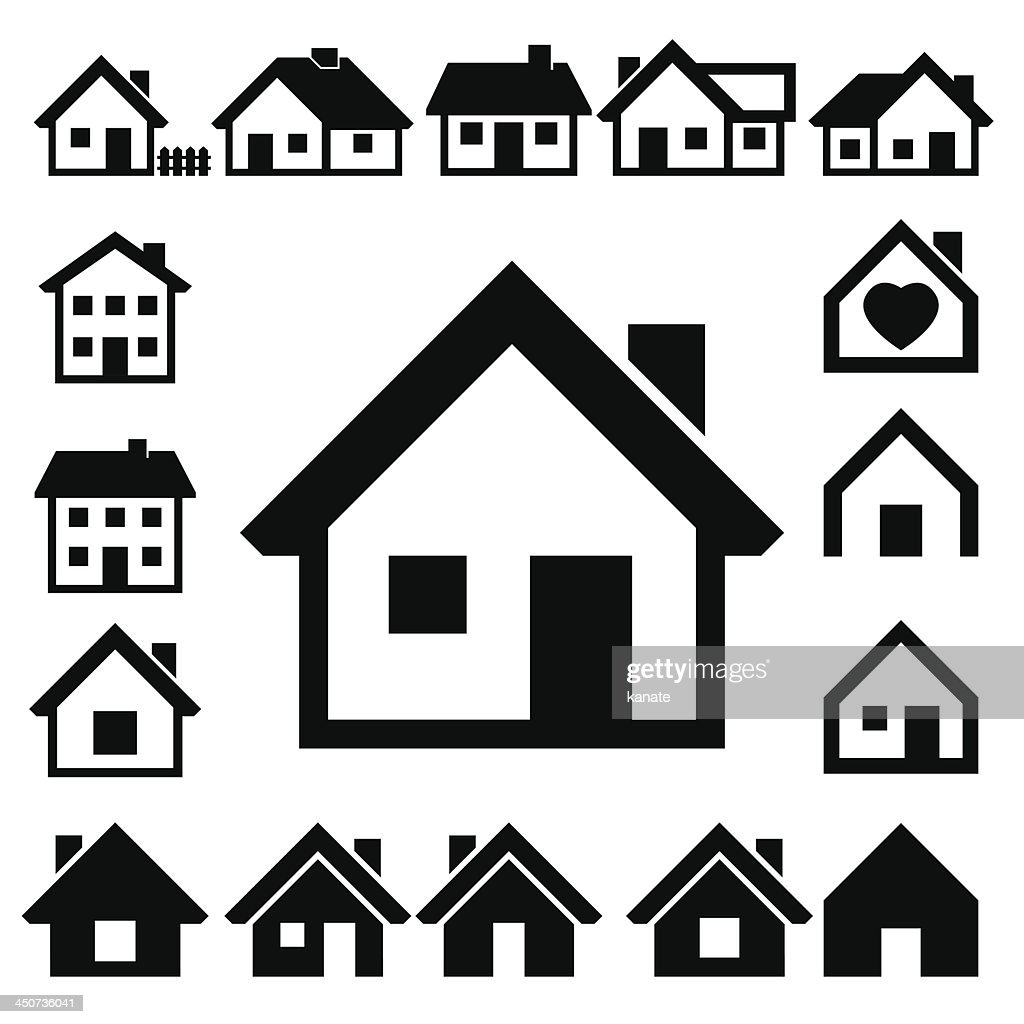 Houses icons set. Real estate.