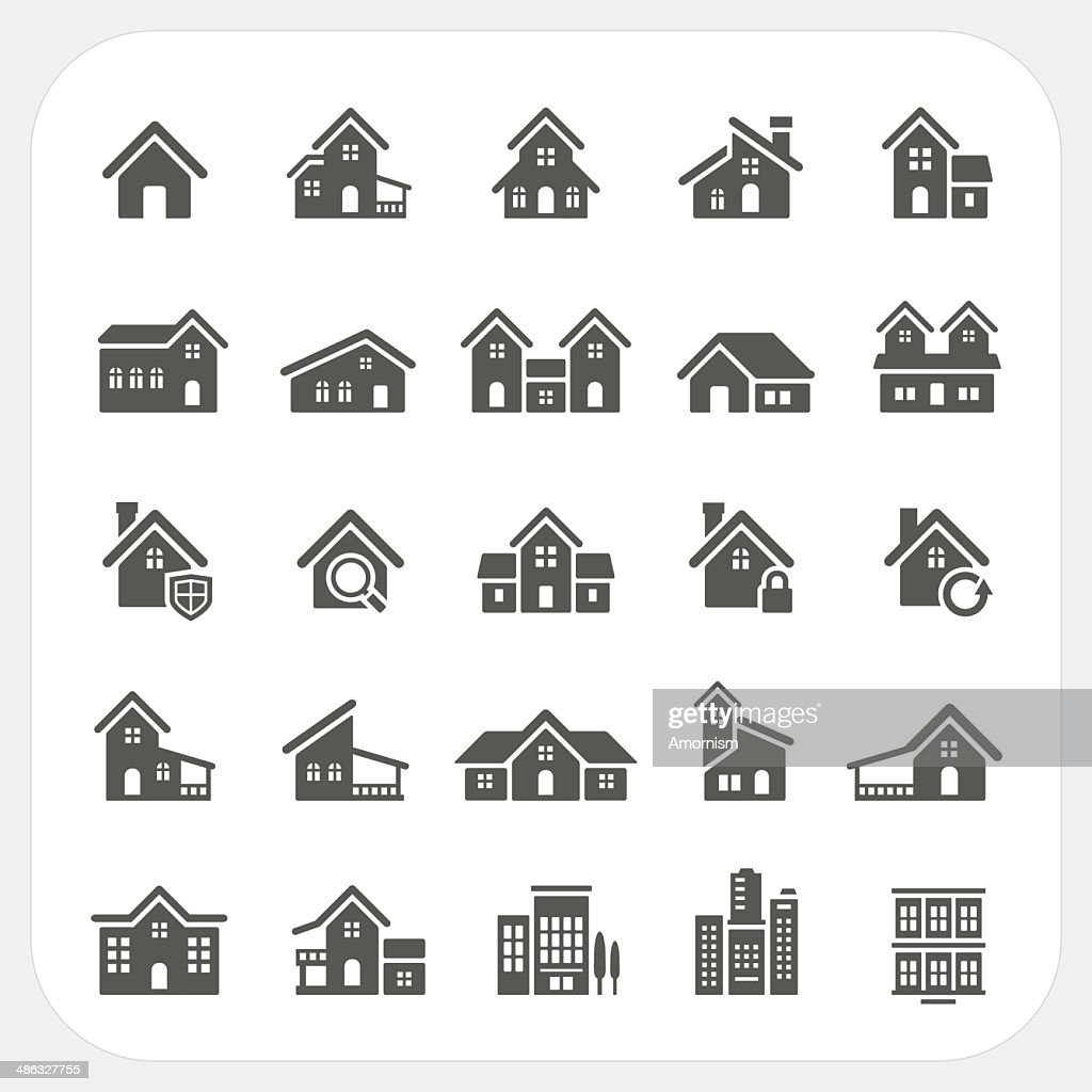 Houses icons set, Real estate