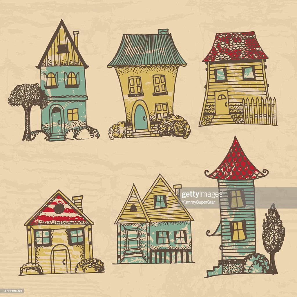 Houses in different architectural styles vector art for Different building styles