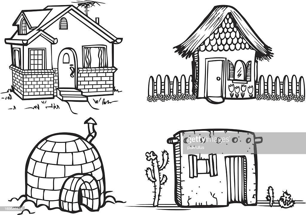 Houses - Line Art