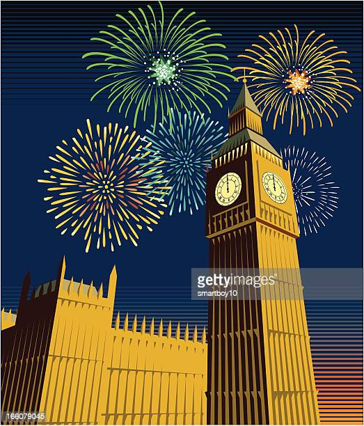 Houses of Parliament and Big Ben with fireworks