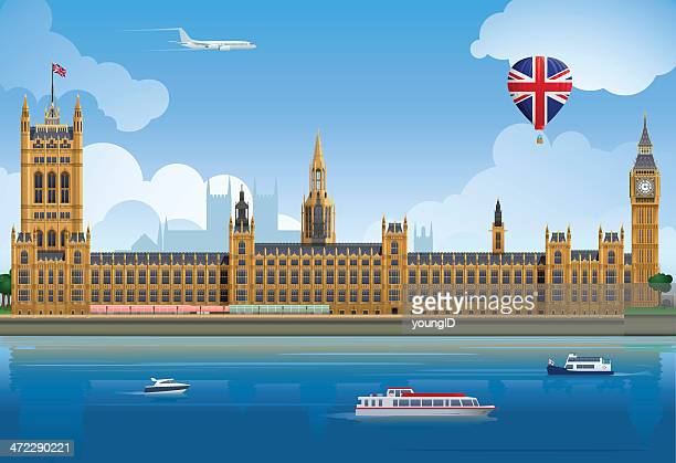 houses of parliament - london england stock illustrations