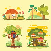 Houses on the tree, magic hut on a village.