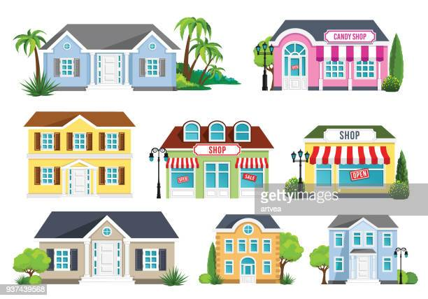 houses set - house exterior stock illustrations, clip art, cartoons, & icons