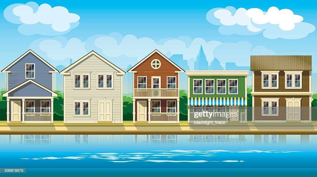 houses suburb : Vector Art