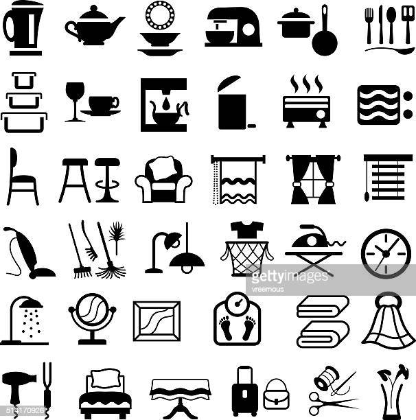 housewares icons - electric heater stock illustrations, clip art, cartoons, & icons