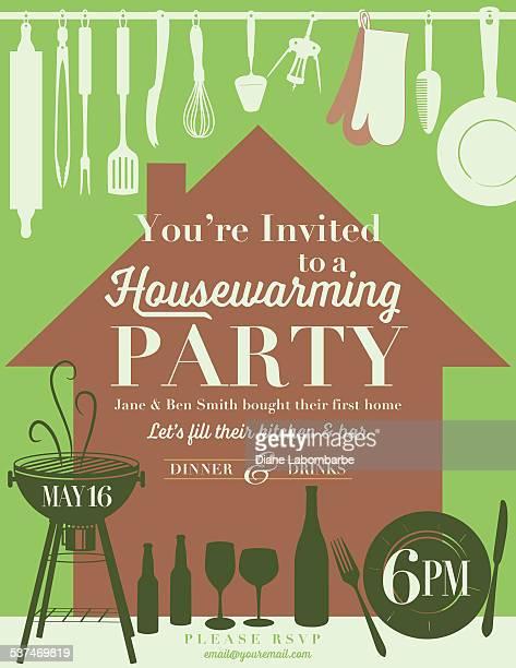 housewarming party kitchen invitation - kitchenware department stock illustrations, clip art, cartoons, & icons
