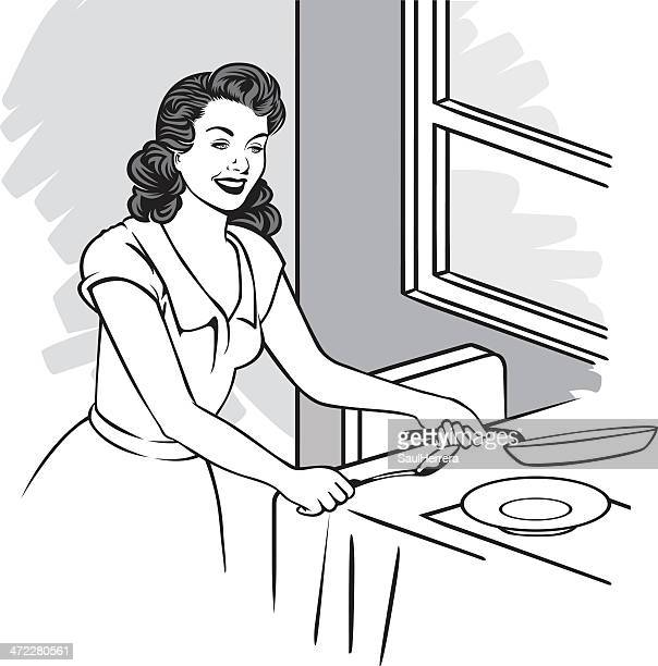 housewife cooking - stay at home mother stock illustrations, clip art, cartoons, & icons