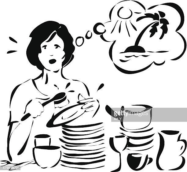 housewife - daydreaming - washing dishes stock illustrations, clip art, cartoons, & icons