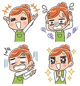 A housewife has various facial expressions