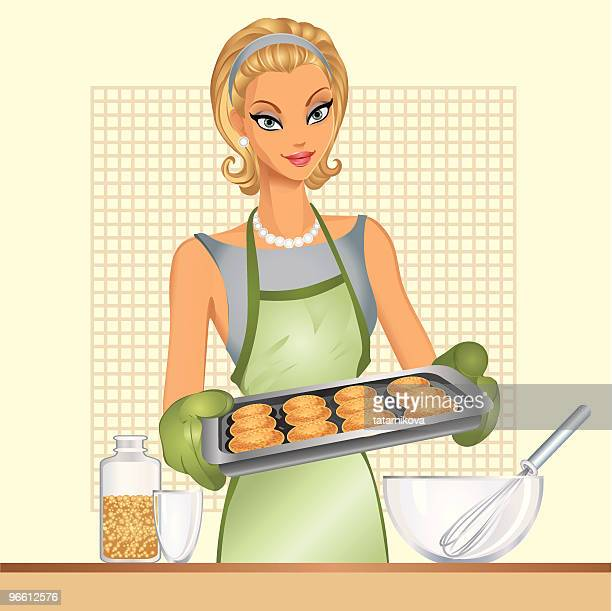housewife, home cookies - stay at home mother stock illustrations, clip art, cartoons, & icons