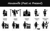 Housewife Past versus Present Lifestyle Cliparts
