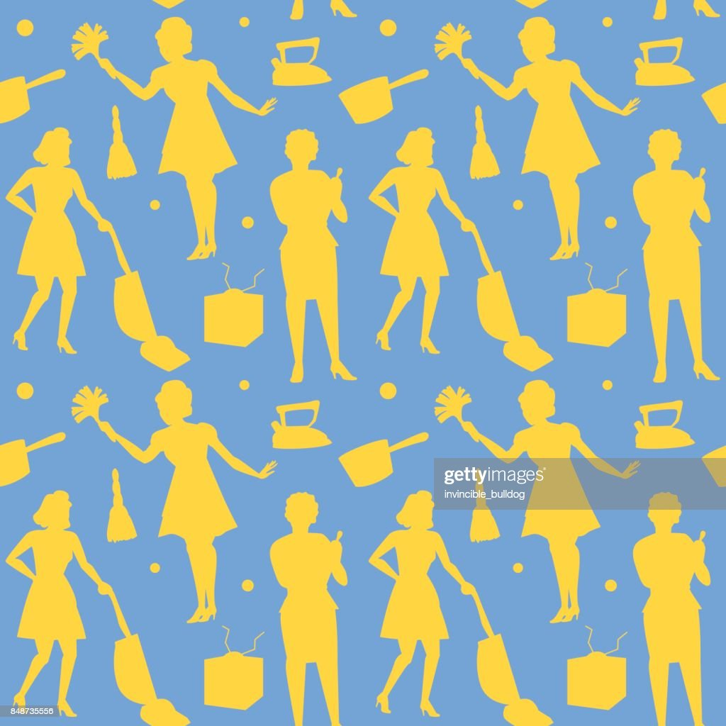 Housewife Retro Woman Silhouette Seamless Pattern